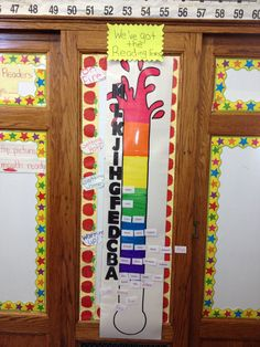 Cute way for kids to track their reading progress. After a running record have them move their name up to the level they achieved!
