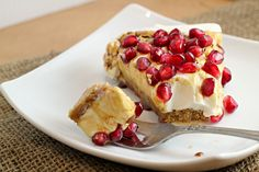 Greek Yogurt Cheesecake with Pomegranate Syrup
