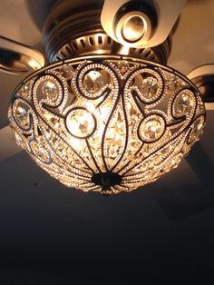 Tired of the boring ceiling fan light kits? Buy a sparkly flush mount fixture wi… - Ceiling Fan Fan Light Fixtures, Bedroom Light Fixtures, Rustic Light Fixtures, Rustic Lighting, Bedroom Lighting, Industrial Lighting, Bedroom Ceiling Fan Light, Lighting Ideas, Living Room Ceiling Fan