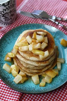 Caramel & Sea Salt Pear Pancake Recipe by Cookin' Canuck: Yum! #Pancakes #Pear #Caramel #Sea_Salt #cookincanuck seasalt, pancak recip, sea salt, pear recip, pear pancak, caramels, pancakes, pears, pancake recipes