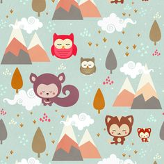 Happy Little Friends (Small) fabric by kimsa on Spoonflower - custom fabric