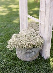 More baby's breath. Would be great to decorate the church with and then moved to the reception!
