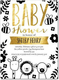 Penned Pals - Baby Shower Invitations in Black | Ann Kelle