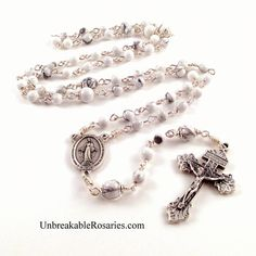 Miraculous Medal Rosary Beads In White Magnesite With Pardon