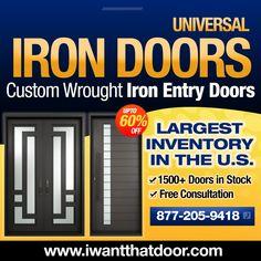 UP TO 60% OFF ON STOCK DOORS ☎️️ 877-205-9418 🌐 www.iwantthatdoor.com Wrought Iron Doors, Entry Doors, 30 Years, Wrought Iron Gates, Entrance Doors