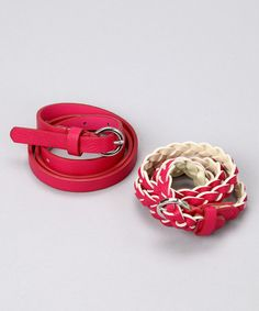 Take a look at this Pink Braided Belt Set by LeVaunt Belts on #zulily today!