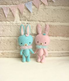 Miniature Bunny Collectibles Soft Felt Stuffed by sistersdreams, £16.00