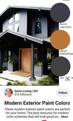 Modern Color Schemes, Exterior Color Schemes, Exterior Paint Colors, Exterior House Colors, Outdoor Paint Colors, House Paint Exterior, Modern Exterior, House Painting, House Design
