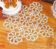 Tatted multi-flower doily, photo (see diagram)