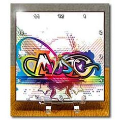 Amazon.com: Funky Graffiti Music Text Pop Art Design WIth Stars - 6x6 Desk Clock: Home & Kitchen