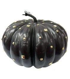 Pumpkin Boutique Large Decorative Pumpkin-Black With Studs