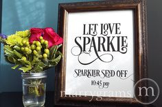Let Love Sparkle Sign - Sparkler Send Off Sign - Table Card Sign - Wedding Reception Seating Signage - Matching Numbers Available SS06