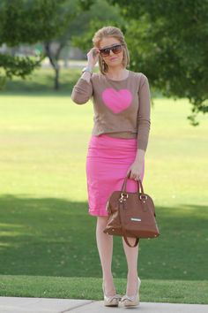 Pink with a graphic sweater