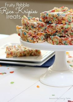 Fruity Pebble Krispies Treats (Butter, Marshmallows, Rice Krispies, Fruity Pebbles, Confectioner's Sugar, Vanilla Extract & Milk)  - Around My Family Table