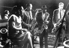 Ben Webster (w/ hat) and Billie Holiday, Gerry Mulligan, Lester Young,