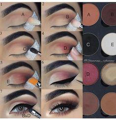 Step by step pictorial make-up look with LotusLuxe eyeshadow by . # Step by step pictorial make-up look with LotusLuxe eyeshadow by . Makeup 101, Makeup Inspo, Makeup Inspiration, Beauty Makeup, Hair Makeup, Makeup Ideas, Eye Makeup Designs, Makeup Salon, Makeup Studio