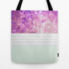 Pink Dreams on grey stripes #Tote #Bag by Mirimo | @Society6