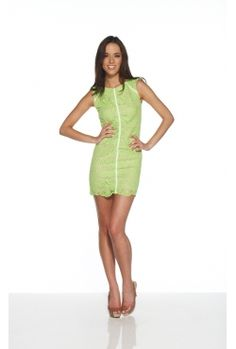 White Suede - Scallop Lace Mini Dress Lime. Borrow for $89 p/w
