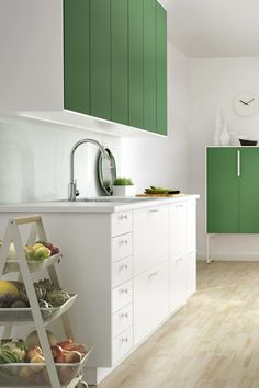 Add a pop of color to your kitchen with endless IKEA SEKTION kitchen cabinet options for a bright, clean look. Choose your color, style, layout and more to create your dream kitchen!
