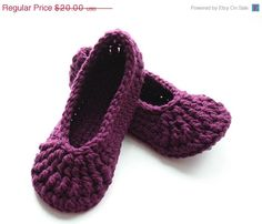 Sale+Womens+crochet+slippers+double+thick+soles+por+ktandthesquid,+$18,00