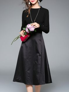 Black Knit A-Line Combo Dress