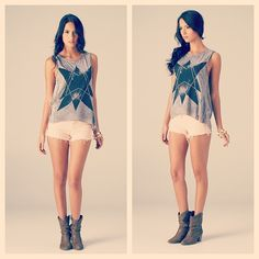 Star Of The Future Tank: Get intergalactic in this starred sleeveless grey burn out tank. Pair this top with black high waisted ripped denim shorts and black velvet ankle boots.