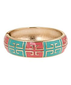 Look what I found on #zulily! Aqua & Coral Grecian Hinge Bangle #zulilyfinds
