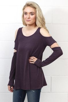 9380d3056a946 Cut It Out 2-Tone Brushed Hacci Sweater  Purple . Shoulder SleeveCold ...