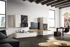 Parete attrezzata soggiorno di design 588 con base e colonna contenitori, pensili, e mensola
