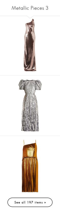 """Metallic Pieces 3"" by jckyleeah ❤ liked on Polyvore featuring metallic, sequindress, Sequins, jckyleeah, jckyleeahsequinscollection, dresses, gowns, sequin evening gowns, embellished gown and red carpet gowns"
