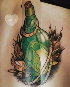 #neo #traditional #bottle #firefly #tattoo