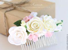 Купить Свадебный гребень в прическу,украшение для невесты,розы. - гребень для волос, гребень с цветами