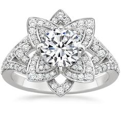 18K White Gold Lily Diamond Ring (1/2 ct. tw.), top view