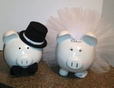 Bride and Groom Banks Personalized Piggy Bank, Personalized Gifts, Adult Crafts, Diy And Crafts, Pig Bank, Color Me Mine, My Bridal Shower, Cute Piggies, This Little Piggy
