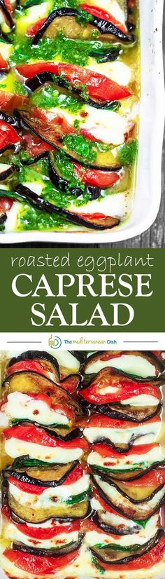 Roasted Eggplant Caprese Salad Recipe | The Mediterranean Dish. A satisfying appetizer or even side dish! Roasted eggplants, tomatoes, and melted mozzeralla cheese with basil nestled in between. Dressed in a simple basil viniagrette! See the step-by-step