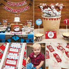 {Super Cute!} Rustic Sock Monkey First Birthday Party by Louise Sanders of Sunshine Shabby! - notice the stand for the cake - good idea