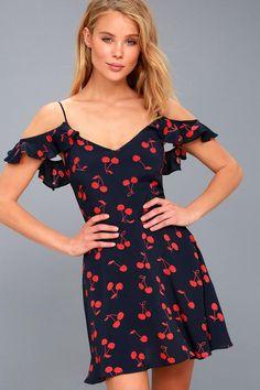 #xmas #Christmas #Lulus - #Lulus Lucy Love - Meet the Fam Navy Blue Cherry Print Off-the-Shoulder Dress - Lulus - AdoreWe.com