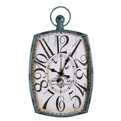 Adeco Vintage-Inspired Light Blue Iron Pocket Watch Style Wall Hanging Clock #Adeco #ArtsCraftsMissionStyle