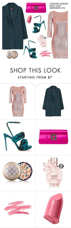 """Winter Dresses Under $100 - Glam style"" by dorinela-hamamci ❤ liked on Polyvore featuring Topshop, MANGO, Marco de Vincenzo, Manolo Blahnik, Guerlain, Viktor & Rolf, Bobbi Brown Cosmetics, under100, polyvorecontest and polyvoreditorial"