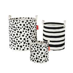 Pack de 3 paniers de rangement Noir / Blanc de Done By Deer