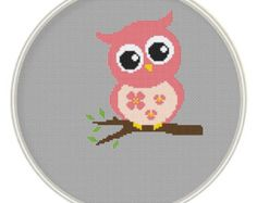 Counted cross stitch pattern, Instant Download, Free shipping, Cross-Stitch PDF, Cute Pink Owl