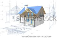 house architectural project sketch illustration - Buy this stock illustration and explore similar illustrations at Adobe Stock Cottage House Plans, Cottage Homes, Modern Lake House, Duplex House Design, House Sketch, Dream House Interior, House Windows, Home Design Plans, Modern Farmhouse