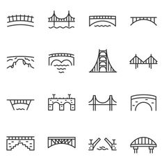Various bridges. Line with editable stroke Frankfurt, Bridge Icon, Bridge Logo, Wings Icon, Coin Logo, Building Icon, Church Logo, City Icon, Line Art Tattoos