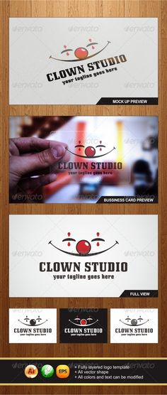 Clown Studio Logo — Vector EPS #poker #clown • Available here → https://graphicriver.net/item/clown-studio-logo/5834049?ref=pxcr
