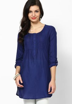 Biba Blue Cotton Straight Kurta - BI021WA85YFUINDFAS