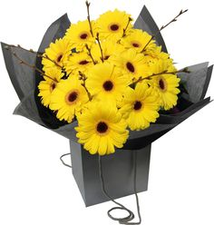 £30.00 - Van Gogh Bouquet. The glorious bright yellow blooms in this bouquet represent #VanGogh's Sunflowers. Out of season summer Sunflowers are substituted for large yellow Autumn/Winter Gerberas, complemented with Birch adding a subtle texture contrast. Be transported to the fields of Arles full of radiant colour. #ValentinesDay