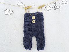 Hand Knit Baby Boy Romper / Knitted Baby by ZucchiniIslandKnits