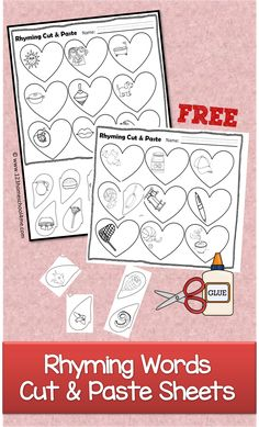 FREE Rhyming Words Worksheets for Valentines Day Cut and Paste - What a fun way for preschool kindergarten grade grade to practice identifying rhyming word (homeschool free printable reading) Valentine Theme, Valentines Day Activities, Valentine Day Crafts, Valentine's Day Printables, Kindergarten Fun, Groundhog Day, Free Printable, School Stuff, Worksheets