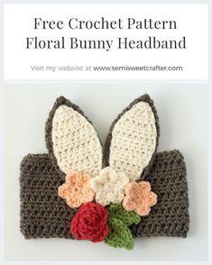 Floral Bunny headband free crochet pattern