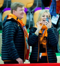 Dutch King Willem-Alexander and Queen Maxima cheer. Olympic Games, Sochi 2014.